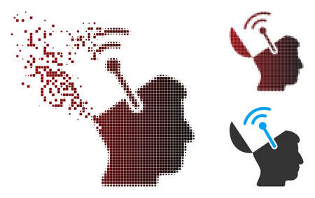 Vector open brain radio interface icon in fractured, pixelated halftone and undamaged solid versions. Disappearing effect involves rectangular particles and horizontal gradient from red to black.