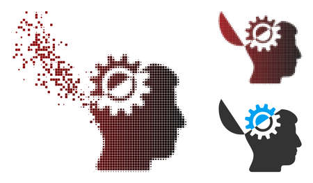 Vector open mind gear icon in dissolved, pixelated halftone and undamaged solid variants. Disappearing effect uses rectangle particles and horizontal gradient from red to black.