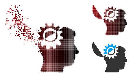 Vektor-Open-Mind-Zahnradsymbol in aufgelösten, pixeligen Halbton- und unbeschädigten Volltonvarianten. Der verschwindende Effekt verwendet rechteckige Partikel und einen horizontalen Farbverlauf von Rot nach Schwarz.