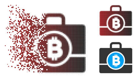 Vector Bitcoin case icon in dissolved, dotted halftone and undamaged solid versions. Disappearing effect involves rectangular dots and horizontal gradient from red to black.