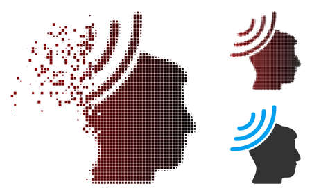 Vector radio reception mind icon in dispersed, pixelated halftone and undamaged whole versions. Disintegration effect involves rectangular sparks and horizontal gradient from red to black.