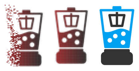 Vector kitchen blender icon in dispersed, dotted halftone and undamaged solid variants. Disappearing effect involves rectangular dots and horizontal gradient from red to black.