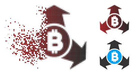 Vector Bitcoin spend arrows icon in dispersed, pixelated halftone and undamaged solid versions. Disintegration effect involves rectangle scintillas and horizontal gradient from red to black.