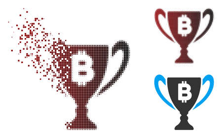 Vector Bitcoin award cup icon in sparkle, dotted halftone and undamaged entire variants. Disintegration effect involves rectangular sparks and horizontal gradient from red to black.