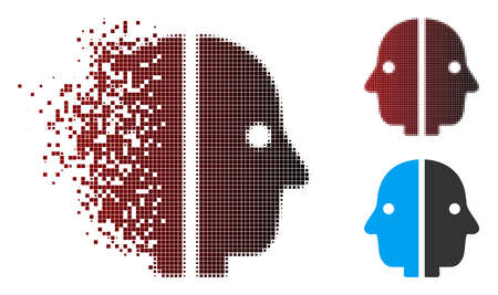 Vector dual face icon in dissolved, pixelated halftone and undamaged entire variants. Disappearing effect involves rectangle dots and horizontal gradient from red to black.
