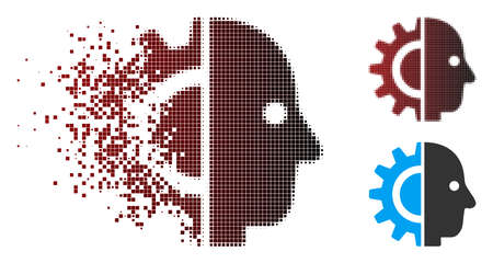Vector cyborg head icon in dispersed, pixelated halftone and undamaged solid versions. Disintegration effect uses square sparks and horizontal gradient from red to black.