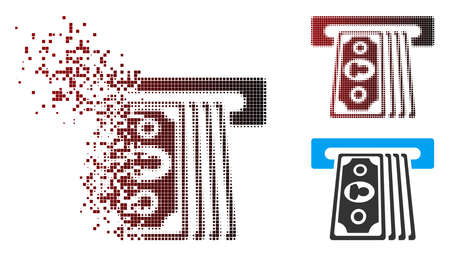 Vector cashpoint terminal icon in dispersed, dotted halftone and undamaged solid variants. Disintegration effect involves rectangle particles and horizontal gradient from red to black.