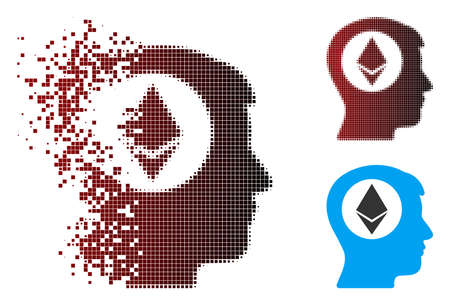 Vector Ethereum mind icon in dissolved, pixelated halftone and undamaged entire versions. Disappearing effect uses square particles and horizontal gradient from red to black.