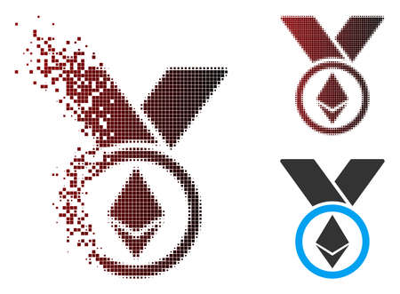 Vector Ethereum award medal icon in sparkle, pixelated halftone and undamaged whole variants. Disintegration effect uses rectangular sparks and horizontal gradient from red to black.