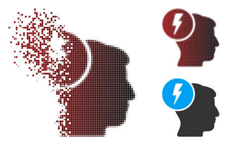 Vector brain electricity icon in fractured, pixelated halftone and undamaged whole versions. Disintegration effect involves rectangular particles and horizontal gradient from red to black.