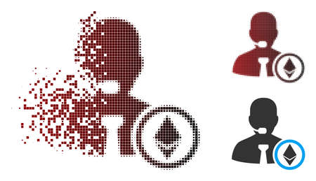 Vector Ethereum operator manager icon in sparkle, dotted halftone and undamaged entire versions. Disintegration effect involves rectangle particles and horizontal gradient from red to black.