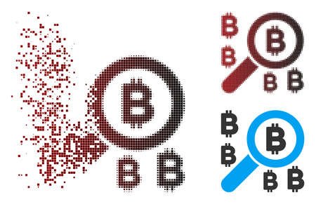 Vector find Bitcoin icon in fractured, dotted halftone and undamaged solid versions. Disintegration effect uses square particles and horizontal gradient from red to black. 向量圖像