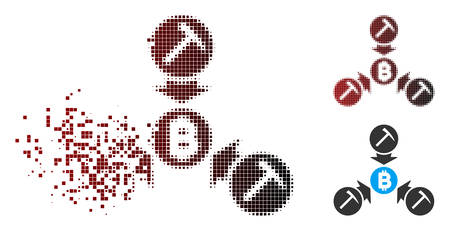 Vector Bitcoin mining pool icon in dispersed, pixelated halftone and undamaged solid versions. Disappearing effect uses rectangle scintillas and horizontal gradient from red to black.