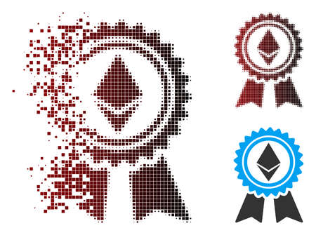 Vector Ethereum reward medal icon in fractured, dotted halftone and undamaged whole versions. Disintegration effect uses rectangular particles and horizontal gradient from red to black. Illustration