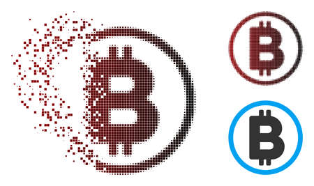 Vector Bitcoin rounded icon in dispersed, dotted halftone and undamaged entire variants. Disappearing effect involves rectangular dots and horizontal gradient from red to black.