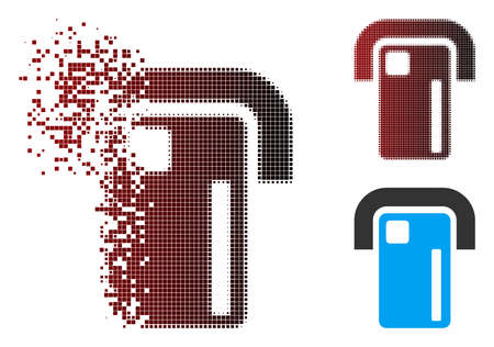 Vector payment terminal icon in dissolved, dotted halftone and undamaged solid versions. Disappearing effect involves rectangular particles and horizontal gradient from red to black.