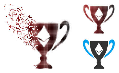 Vector Ethereum award cup icon in dispersed, dotted halftone and undamaged entire versions. Disintegration effect involves rectangular scintillas and horizontal gradient from red to black.