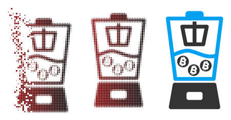 Vector Bitcoin mixer icon in fractured, dotted halftone and undamaged whole versions. Disintegration effect uses rectangle particles and horizontal gradient from red to black.