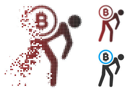 Vector Bitcoin courier person icon in dissolved, dotted halftone and undamaged solid variants. Disappearing effect involves rectangular particles and horizontal gradient from red to black. Illustration
