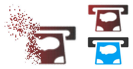 Vector ATM payment icon in fractured, pixelated halftone and undamaged whole versions. Disintegration effect uses rectangular dots and horizontal gradient from red to black.