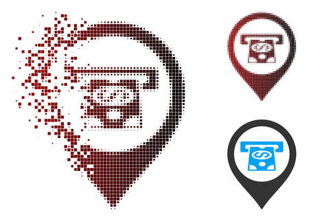 Vector cash machine pointer icon in dispersed, dotted halftone and undamaged solid variants. Disappearing effect uses rectangular scintillas and horizontal gradient from red to black.