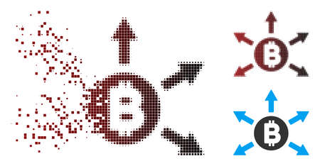 Vector Bitcoin emission icon in dispersed, pixelated halftone and undamaged solid versions. Disappearing effect involves rectangle scintillas and horizontal gradient from red to black. Ilustração