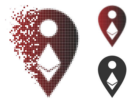 Vector Ethereum map marker icon in fractured, pixelated halftone and undamaged solid versions. Disappearing effect involves rectangle dots and horizontal gradient from red to black.