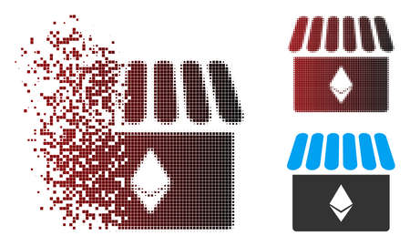 Vector Ethereum store icon in sparkle, dotted halftone and undamaged whole versions. Disappearing effect uses square scintillas and horizontal gradient from red to black. Vector Illustratie