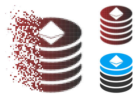 Vector Ethereum coin stack icon in dissolved, pixelated halftone and undamaged whole variants. Disintegration effect uses rectangular particles and horizontal gradient from red to black.