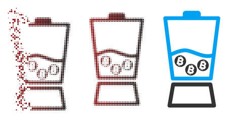 Vector Bitcoin blender icon in dispersed, pixelated halftone and undamaged whole versions. Disappearing effect involves square dots and horizontal gradient from red to black.