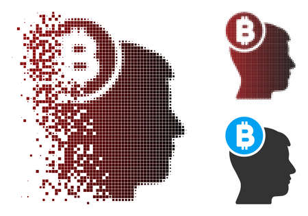 Vector Bitcoin mind head icon in dissolved, pixelated halftone and undamaged whole variants. Disappearing effect involves square sparks and horizontal gradient from red to black.