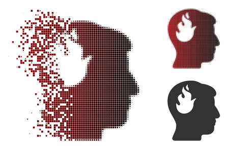 Vector brain fire icon in sparkle, dotted halftone and undamaged entire variants. Disintegration effect uses square dots and horizontal gradient from red to black. Imagens