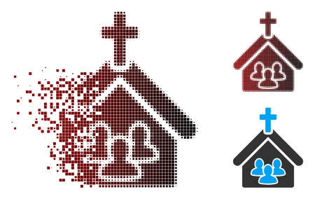 Vector church people icon in dispersed, pixelated halftone and undamaged solid variants. Disappearing effect uses rectangle particles and horizontal gradient from red to black. Çizim