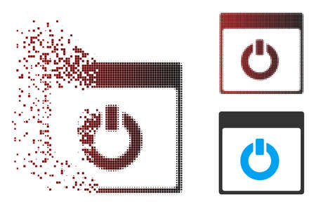 Vector switch on calendar page icon in fractured, dotted halftone and undamaged solid versions. Disappearing effect uses square particles and horizontal gradient from red to black.