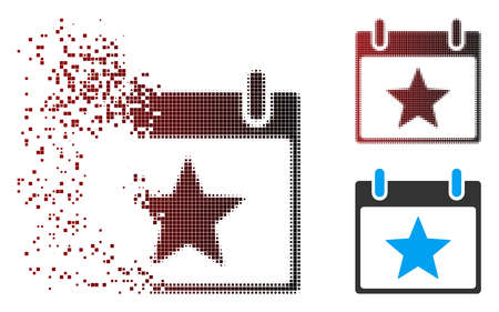 Vector star calendar day icon in sparkle, pixelated halftone and undamaged entire variants. Disintegration effect involves rectangular scintillas and horizontal gradient from red to black.
