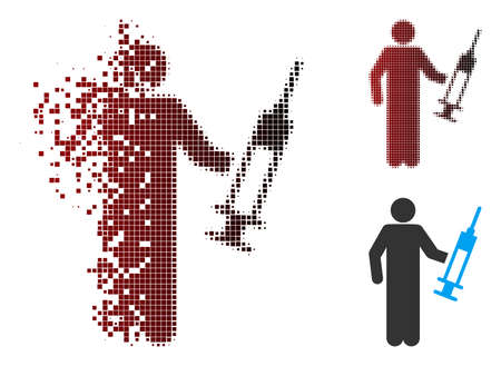Vector drug dealer icon in sparkle, dotted halftone and undamaged solid versions. Disappearing effect uses square dots and horizontal gradient from red to black.