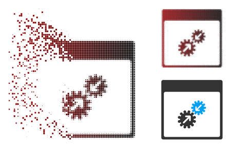 Vector gears integration calendar page icon in sparkle, pixelated halftone and undamaged whole versions. Disappearing effect uses rectangle sparks and horizontal gradient from red to black.