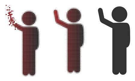 Vector child hitchhike icon in sparkle, dotted halftone and undamaged solid variants. Disintegration effect uses square sparks and horizontal gradient from red to black.