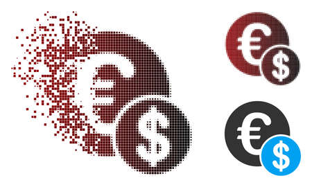 Vector currency icon in sparkle, dotted halftone and undamaged entire variants. Disappearing effect involves square sparks and horizontal gradient from red to black.
