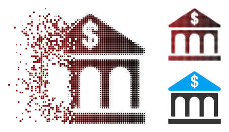 Vector classic bank building icon in dispersed, dotted halftone and undamaged entire versions. Disappearing effect involves rectangle particles and horizontal gradient from red to black.