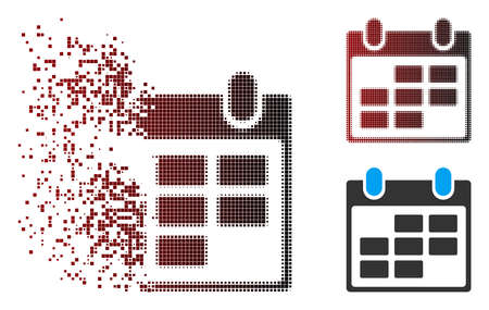 Vector calendar icon in sparkle, pixelated halftone and undamaged entire variants. Disappearing effect uses rectangle sparks and horizontal gradient from red to black.