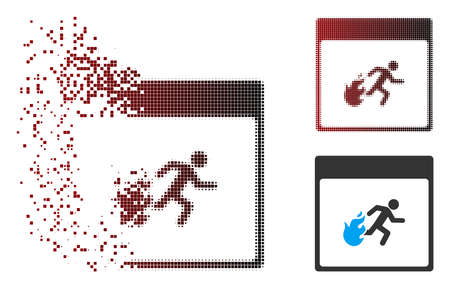 Vector fire evacuation man calendar page icon in dispersed, dotted halftone and undamaged solid versions. Disintegration effect uses rectangular particles and horizontal gradient from red to black.