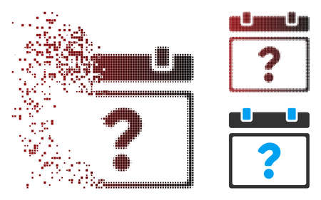 Vector unknown calendar page icon in dispersed, pixelated halftone and undamaged solid variants. Disintegration effect involves square dots and horizontal gradient from red to black.