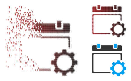 Vector calendar page options gear icon in fractured, dotted halftone and undamaged whole variants. Disappearing effect involves rectangle particles and horizontal gradient from red to black.