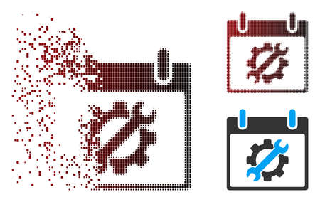 Vector configuration tools calendar day icon in dispersed, dotted halftone and undamaged entire versions. Disappearing effect involves square particles and horizontal gradient from red to black.