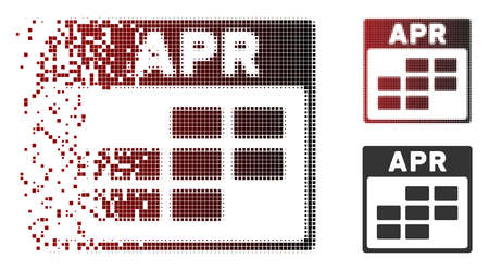 Vector April calendar grid icon in dispersed, dotted halftone and undamaged whole versions. Disintegration effect uses square particles and horizontal gradient from red to black.