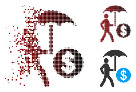 Vector financial umbrella protection icon in sparkle, dotted halftone and undamaged whole variants. Disintegration effect uses rectangular particles and horizontal gradient from red to black.