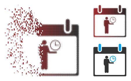 Vector time manager calendar day icon in dissolved, dotted halftone and undamaged solid variants. Disintegration effect involves rectangle dots and horizontal gradient from red to black.