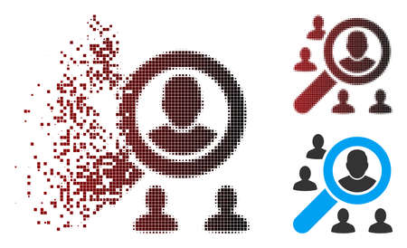 Vector search users icon in dispersed, pixelated halftone and undamaged solid versions. Disappearing effect uses square sparks and horizontal gradient from red to black.