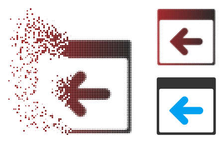 Vector previous calendar day icon in sparkle, pixelated halftone and undamaged solid versions. Disappearing effect involves square scintillas and horizontal gradient from red to black.